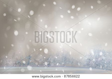 Vector winter snowfall landscape.