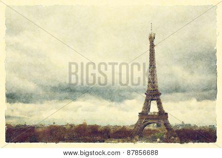 Watercolour landscape view of Paris and the Eiffel Tower.