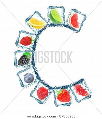 fruit in the ice cube