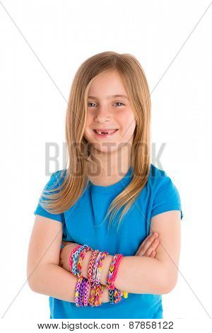 Loom rubber bands bracelets blond kid girl smiling crossed arms on white background