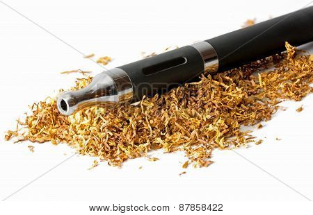 Electronic Cigarette In Loose Tobacco Isolated On White