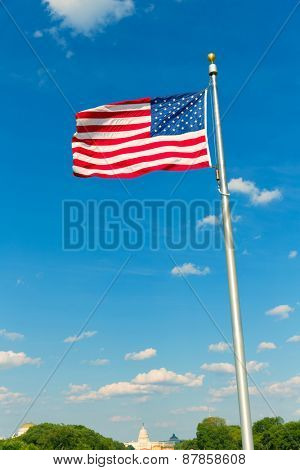 Washington Monument flag and Capitol in District of Columbia DC USA