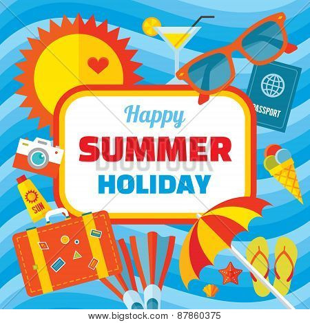 Happy summer holiday - creative vector banner in flat style design