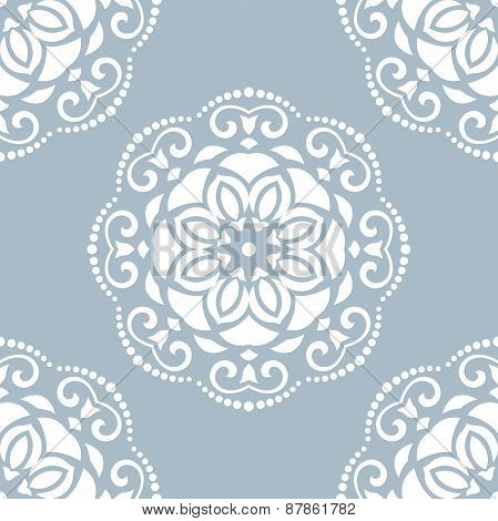 Damask Seamless  Pattern. Orient Background with Blue and White Colors