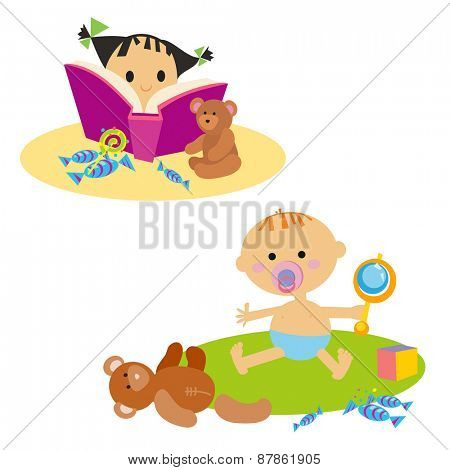 Little girl reading book. Baby with toy. Isolated on white background