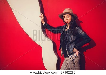 Fashionable Portrait Of A Girl In A Hat