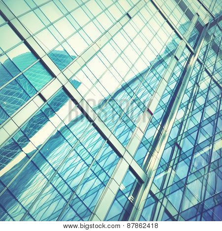 Modern office building - architectural and business background. Retro style filtred image
