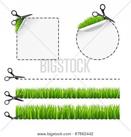 Vector scissors cut sticker. Green grass 10 eps