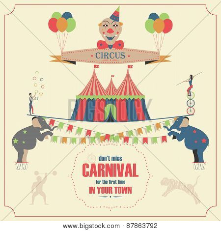 Circus and Carnival Invitation Card Template.