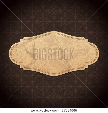 Vintage Label Design Old Crumpled Paper Texture and Ornament Pattern Vector Background