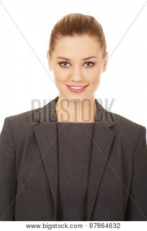 Beautiful happy toothy smiling businesswoman.