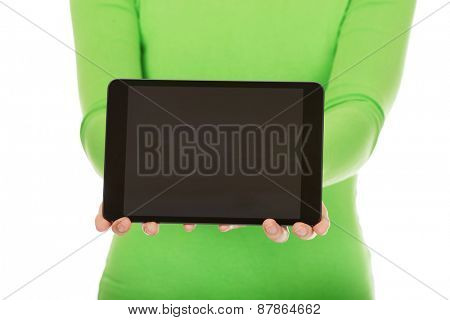 Young woman showing a tablet.