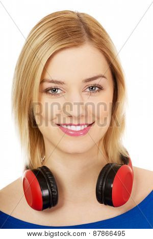 Young motion woman with headphones.