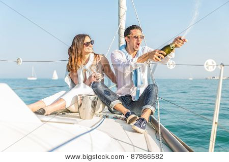 Couple Celebrating On The Boat