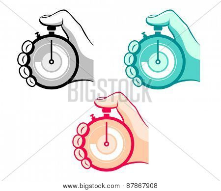 Colorful stopwatch in hand icons isolated
