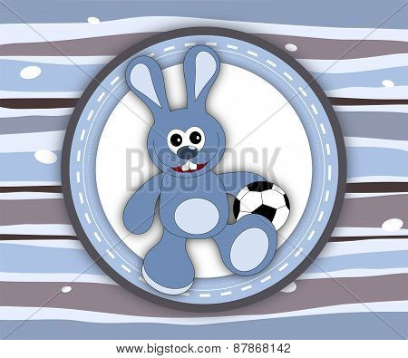 Cute Smiling Bunny Label Card In Blue And Brown