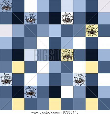Seamless Blue Mosaic With Spider Motif