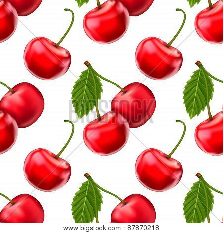 Vector cherries seamless background