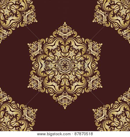 Damask Seamless  Pattern. Orient Golden Background