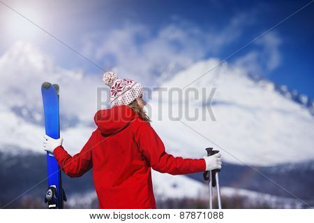 Woman skiing in winter nature