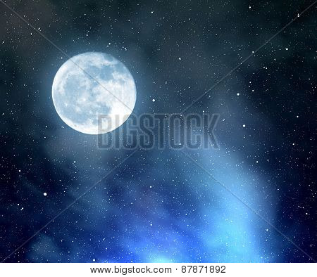 Night sky with stars,nebula and moon.