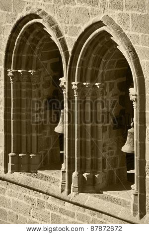 Gothic Arches And Columns In A Facade. Olite, Spain