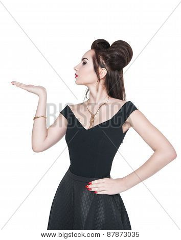 Beautiful Woman In Retro Pin-up Style Looking On Something On Her Hand