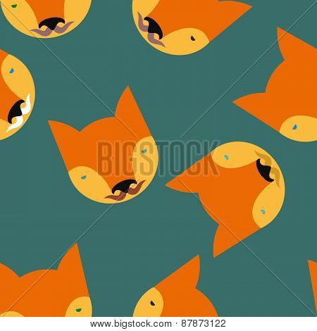 Fox Seamless pattern. Animals Vector illustration background