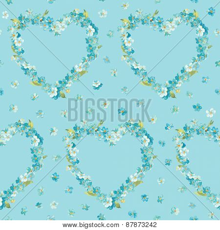 Spring Flowers Heart Background - Seamless Floral Shabby Chic Pattern - in vector