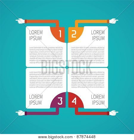 Abstract Vector 4 Steps Infographic Template In Flat Style For Layout Workflow Scheme, Numbered Opti