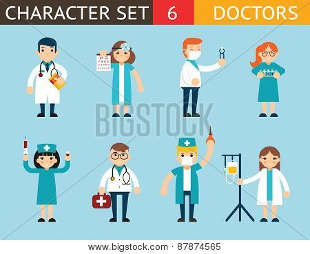 Doctor and Nurse Characters Madical Icon Set Symbol with Accessories on Stylish Background Flat Desi