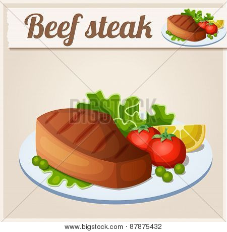 Beef steak. Detailed Vector Icon. Series of food and drink and ingredients for cooking.