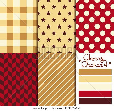 Set of 5 simple seamless geometric patterns. 'Cherry orchard' color palette.