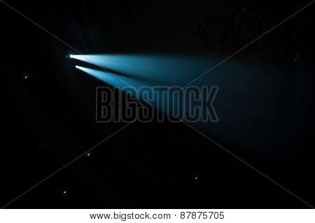 Two Beams In Dark Concert Hall.