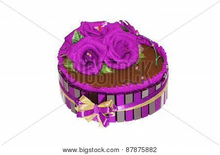 Decorative Pie From Artificial Flowers And Sweets,