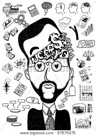 Hand Drawn Businessman Thinking Of Business Concept