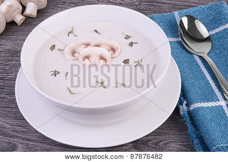 Fresh Cream Of Mushroom Soup In A White Bowl