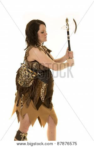 Cave Woman Side View With Hatchet Up