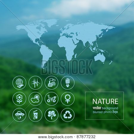 Ecologi Icon Set And Map On The Blurred Photo Background
