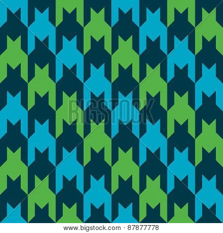 Striped Houndstooth Pattern in Blue, Green and Black