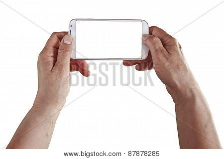 Hands Holding Mobile Horizontal