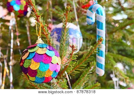 Multicolored Christmas Ball And Santa Cane On Pine Branch.