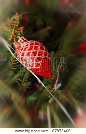 Red Christmas Balls On A Pine Branch.soft Bokeh.