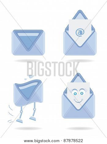 Set, collection, group of four blue, modern, isolated icons - envelopes, design for website, concept