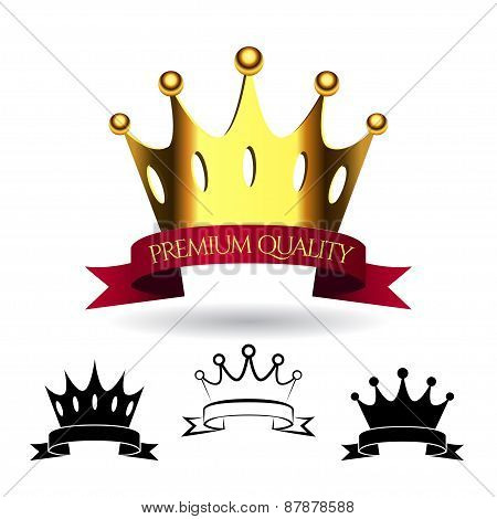 Golden crown with a red ribbon isolated on white background