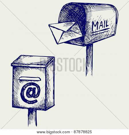 Standard mailbox with mail