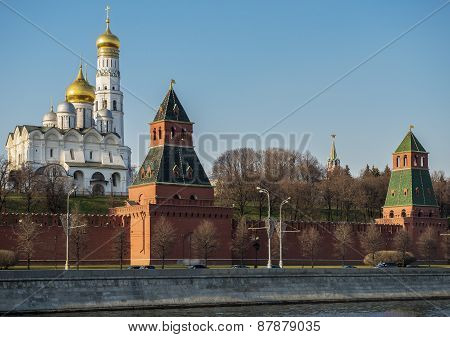 Moscow Kremlin At Sunset.