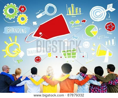 Diversity Casual People Branding Marketing Teamwork Support Concept