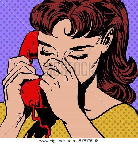 Woman Speaks On The Phone Pop Art Comics Retro Style Halftone