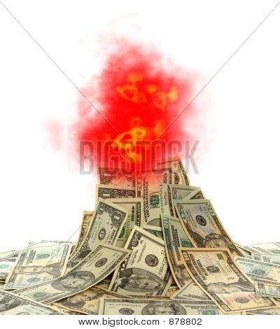 Cash Volcano with Burning Dollar Bills and Flames